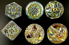 "Collection of 6 Czech Vaseline Glass Buttons #B229 - 23mm or 7/8"" - DIFFERENT"