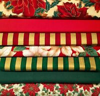 Fat Quarters Bundles Christmas Cotton Fabric Poinsettia Sew Red Gold Green F21