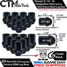 20 DODGE/RAM OEM FACTORY BLACK 9/16-18 WHEEL LUG NUT CONICAL SEAT FIT DODGE/RAM