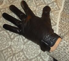Ladies Women's Wriststrap Genuine Leather Driving Gloves, Black, Large