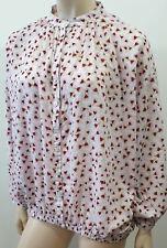 ANNA GLOVER For H&M White Pink Burgundy Geometric Print Blouse Shirt Top UK10