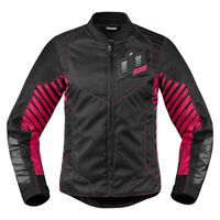 Icon Womens Pink/Black Textile Wireform Motorcycle Jacket