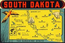 Vintage Travel Decal Replica Window Cling - South Dakota