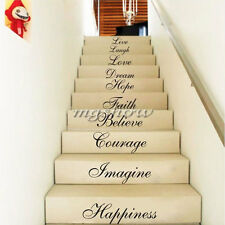 STAIR RISER STICKERS TEN INSPIRATION WORDS WALL QUOTES VINYL DECALS HOME DECOR