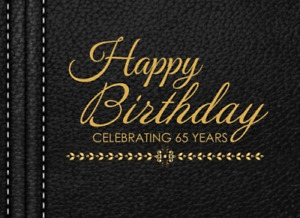 Happy Birthday Celebrating 65 Years: 65th Birthday Guest Book, Black Faux Memory