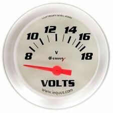 Equus 2 Inch Voltmeter Gauge White / Aluminum Bezel Equus 8268 8-18 Volt Range