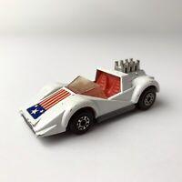 VTG 1975 MATCHBOX LESNEY SUPERFAST No.55 HELLRAISER WHITE CAR W FLAG ENGLAND