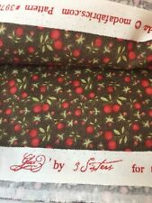 Glace 3 Sisters Moda Brown Red Green Berries Quilting Fabric 4+ YD #3978 OOP