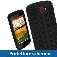 Nero Custodia Pneumatico per HTC One S Android Silicone Skin Case Cover 1 Uno