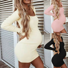 Women Pregnant Maternity Long Sleeve Party High Elastic Sexy Club Mini Dresses