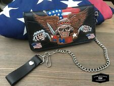 Tooled Biker Leather Wallet/Pro-American/Patriotic/Handmade/Chain Wallet