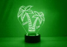 Palm Tree LED Lamp - Personalized FREE - 16 Color Night Light LED w/ Remote