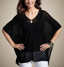 Chico's City Chic Poncho Top Black Shirt L / XL New With Tag