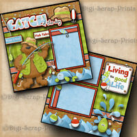 FISHING ~ CATCH OF THE DAY ~ 2 premade scrapbook pages paper piecing ~ DIGISCRAP
