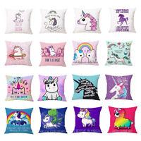 Cartoon Unicorn Print Sofa Cushion Cover Throw Pillow Case Home Decor Eyeful