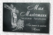 Grabstein Grabplatte Grabtafel mit Wunsch Gravur auf Schieferstein Jesus Rose*