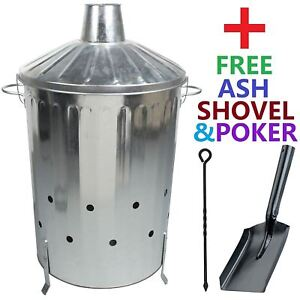 90 Litre X-Large Metal Incinerator Fire Burning Bin + Free Ash Shovel & Poker