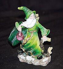 Yardworks Original Mystical Green Wizard Wooden Staff Owl Lantern Resin Figurine