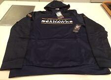 Seattle Seahawks Logo Jersey Sudadera con capucha de rendimiento Sideline de oro NFL XX-grande
