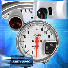 "Universal Jdm 5"" White 7 Color Face Tachometer 11K Rpm Tach Gauge W/ Shift Light"
