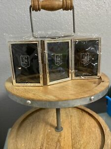 Lunt Silversmiths Sterling Bead 2 x 3 Triple Picture Frame NEW Trifold