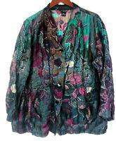Citron Santa Monica 2X 18 20 Top Tunic Shirt Art To Wear Boho Flowy Floral Linen