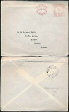 RAILWAY TPO 1959 CREWE GLASGOW SC on COVER LONDON to CROYDON + METER FRANKING