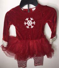 Girls Size 2T Christmas Santa Red Tutu Set Shirt Leggings NEW 2 Piece Snowflake