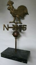 Vintage Brass Table Top Rooster Weathervane With Copper Ball On Marble Base