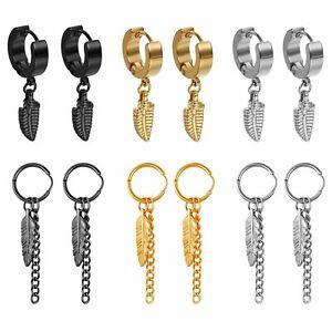 Men Women Stainless Steel Feather Leaf Tassel Huggie Hinged Hoop Studs Earrings