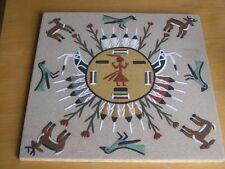"""Vintage Navajo Diné Sand Painting Panel Chiricahua Sun 13x13"""" Yei Herrera's"""