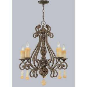 Classic Lighting Riviera Wrought Iron Chandelier, Tortoise Shell - 71155TS