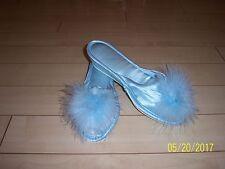 Vintage BOUDOIR SATIN SLIPPERS MARIBOU PEEP TOE MULES Size 7/8 POWDER BLUE