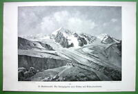 ITALY Tyrol Alps Ortler and Konigsspitze Peaks - VICTORIAN Print Engraving