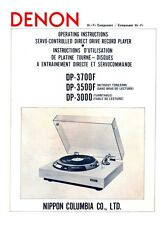 Denon DP-3700F Turntable Owners Manual