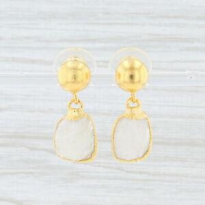 New Nina Nguyen White Moonstone Earrings Sterling 22k Gold Vermeil Drops