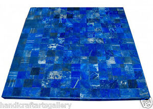 """48"""" Marble Dining Table Top Lapis Lazuli Marquetry Inlaid Outdoor Decors H2027B"""