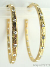 Gold Tone Large Hoop Earrings Crystal Accent Inside Outside