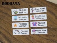 128 Custom Name Tags,  Organic Cotton Labels,iron on, Custom Clothing Labels,