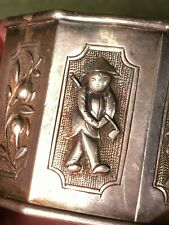 ANTIQUE ASIAN CHINA GOLF SILVER  FIGURAL REPOUSSE GOLF CLUB NAPKIN RING