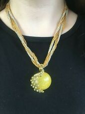 Yellow Moon & Rhinestone Peacock Pendant Seed Bead Statement Necklace