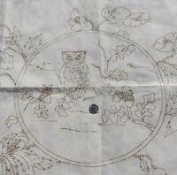 """Antique c1880 Linen Stenciled Owl Pillow Sham Front~L-23""""  X W-28""""*"""