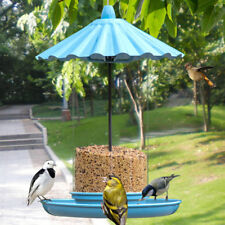 11in. High Outdoor Blue Hanging Bird Feeder w/ Metal Cover and Transparent Body