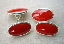 Stunning Rich Red Enamel & Silver Oval Cufflinks