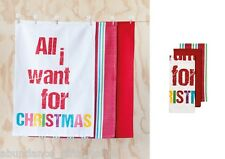 All I Want For Christmas RED 100% Cotton Kitchen 3 pk Tea Towel Set by Ladelle
