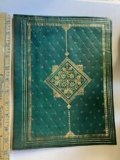 Elegant Green Leather Folder Book Cover with 22 CARAT Gold Embossed Antique