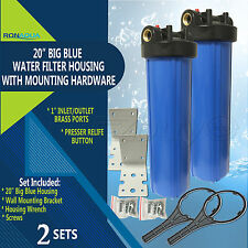 "2 Big Blue Housings 20"" for Whole House Water Filtration System, 1"" Brass Port"