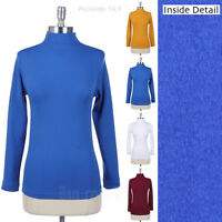 Seamless Basic Solid Mock Turtle Neck Long Sleeve Tee Shirt Top Soft Warm Inside