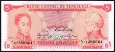 1974 Venezuela 5 évolution de billets de banque * D 11289061 * Fem * P-50h *