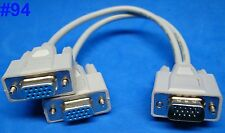 us seller VGA SPLITTER Y ADAPTER VIDEO MONITOR DUAL SCREEN AUX CABLE 15-PIN SVGA